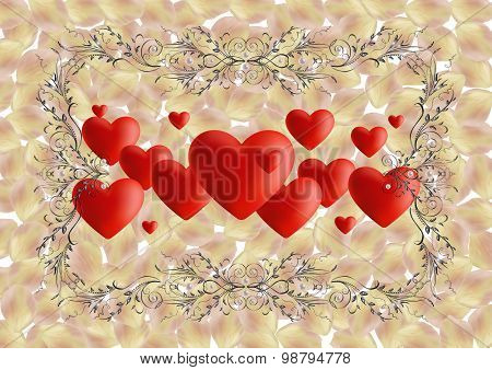 Hearts With Ornate Frame And Rose Petals