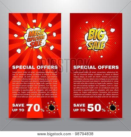 Pop Art Comic Sale Discount Promotion Banners