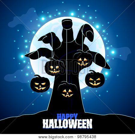 Zombies Hand Holding Pumpkins Halloween