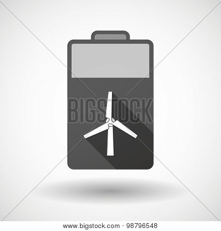 Isolated Battery Icon With A Wind Generator