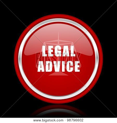 legal advice red glossy web icon chrome design on black background with reflection