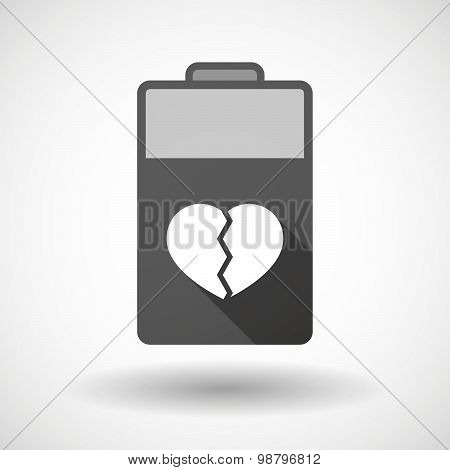 Isolated Battery Icon With A Broken Heart