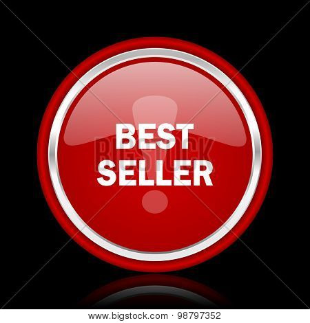 best seller red glossy web icon chrome design on black background with reflection