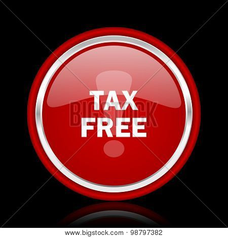 tax free red glossy web icon chrome design on black background with reflection