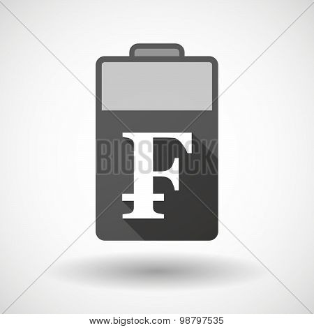 Isolated Battery Icon With A Swiss Franc Sign