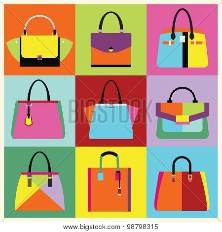 Retro pop art women handbag and purse set poster