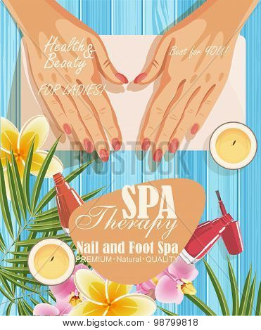 Vector manicure procedure illustration in spa salon