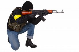 image of ak-47  - gunman with AK 47 isolated on white background - JPG
