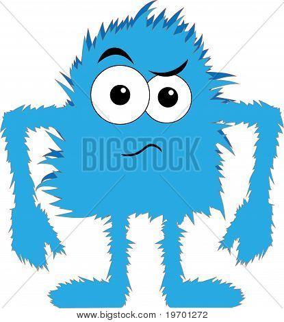 Blue Furry Monster Upset Face