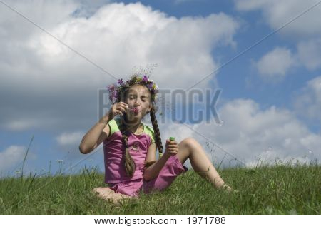 Girl With  Soap Bubbles I