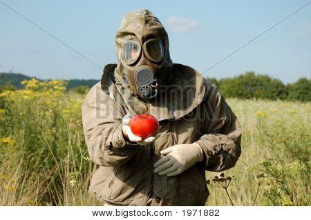 Mann In Gasmaske mit Tomaten