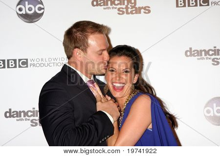 LOS ANGELES - NOV 1:  Tye Strickland, Melissa Rycroft arrives at the Dancing With The Stars 200th Show Party at Boulevard3 on November 1, 2010 in Los Angeles, CA