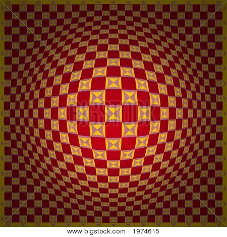 Op Art Expand One Red Yellow