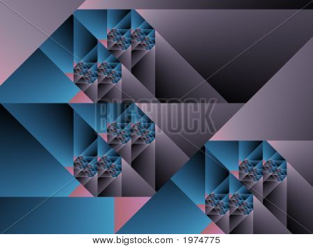 Optical Art Cubist Fractal One Blue Grey And Pink