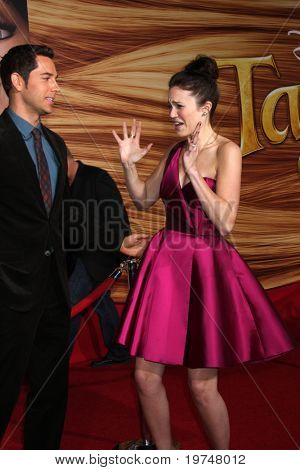 "LOS ANGELES - NOV 14:  Zachary Levi, Mandy Moore arrives at the ""Tangled"" World Premiere at El Capitan Theater on November 14, 2010 in Los Angeles, CA"