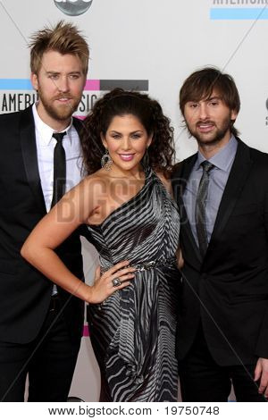 LOS ANGELES - NOV 21:  Lady Antebellum - Charles Kelley, Hillary Scott, and Dave Haywood  arrives at the 2010 American Music Awards at Nokia Theater on November 21, 2010 in Los Angeles, CA