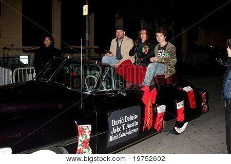 LOS ANGELES - NOV 28:  David DeLuise, Maria Canals Barrera, Jake T. Austin arrive at the 2010 Hollywood Christmas Parade at Hollywood Boulevard on November 28, 2010 in Los Angeles, CA