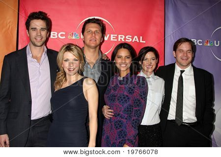PASADENA, CA - JAN 13: David Walton, Mary Elizabeth Ellis, Hayes MacArthur, Olivia Munn, Christine Woods, Kyle Boneheimer arrive at the NBC TCA Party at Langham Hotel on January 13, 2010 in Pasadena, CA