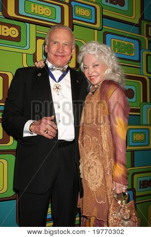 BEVERLY HILLS - JAN 16: Buzz Aldrin; Lois Aldrin arrives at the HBO Golden Globe Party 2011 at Circa 55 at the Beverly Hilton Hotel on January 16, 2011 in Beverly Hills, CA