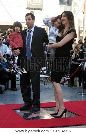 LOS ANGELES - FEB 1:  Adam Sandler, with daughters Sunny & Sadie, wife Jackie at the Adam Sandler Hollywood Walk of Fame Star Ceremony at W Hotel on February 1, 2011 in Hollywood, CA