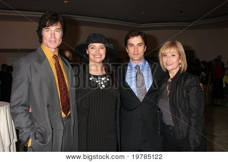 LOS ANGELES - FEB 20:  Ronn  Moss, Devin DeVasquez Moss, Rick Hearst & mom arrive at the 2011 Catholics in Media Associates Awards at Beverly HIlls Hotel on February 20, 2011 in Beverly Hills, CA