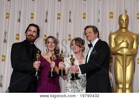 LOS ANGELES - 27:  Christian Bale, Natalie Portman, Melissa Leo, Colin Firth in the Press Room at the 83rd Academy Awards at Kodak Theater, Hollywood & Highland on February 27, 2011 in Los Angeles, CA