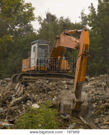 Excavator Cleaning Ruins