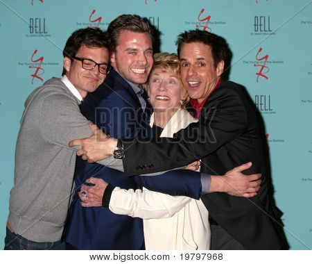 LOS ANGELES - MAR 18:  Greg Rikaart, Billy Miller,  Jeanne Cooper, Christian LeBlanc arriving at The Young & the Restless 38th AnnivParty at Avalon Hotel on March 18, 2011 in Beverly HIlls, CA