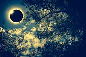 Scientific Natural Phenomenon. Total Solar Eclipse With Diamond Ring Effect Glowing On Sky. poster
