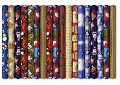 image of heartwarming  - Decorative christmas wrapping paper rolls on isolated white background - JPG