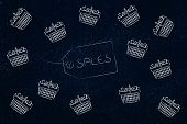 Sales Item Label Surrounded By Flying Shopping Baskets poster