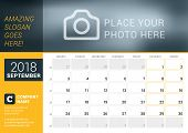September 2018. Desk Calendar For 2018 Year. Vector Design Print Template With Place For Photo, Logo poster