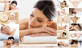 Massage collection. Health care, healing and medicine concept. Beautiful women in spa. Hot stones, m poster