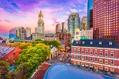 Boston, Massachusetts, USA historic skyline at dusk. poster