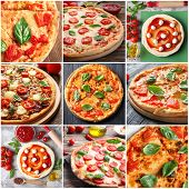 Collage of delicious pizzas with basil leaves  poster