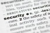 stock photo of pronunciation  - A close up of the word security from a dictionary - JPG