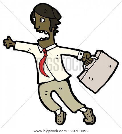 (raster version) cartoon man late for work