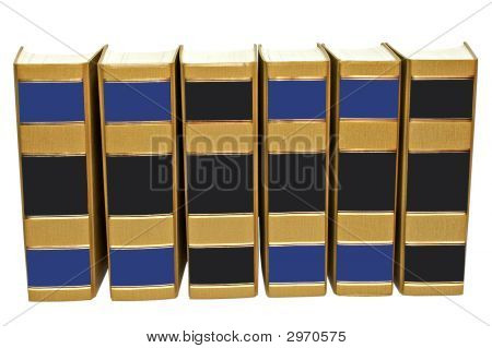 Books Standing Abreast With Clipping Path