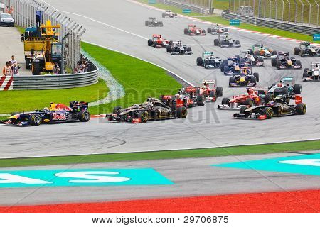 Sepang, Malaysia - April 10: Cars On Track At Race Of Formula 1 Gp, April 10 2011, Sepang, Malaysia.