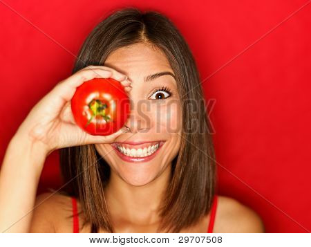 Funny Food Woman With Red Tomato
