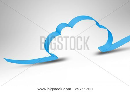 A blue ribbon making a cloud computing background