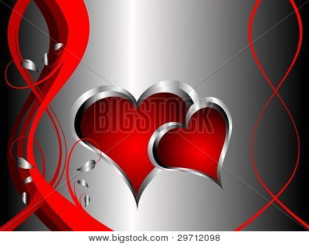 A  valentines background with silver hearts on a deep red and black backdrop  with   room for text
