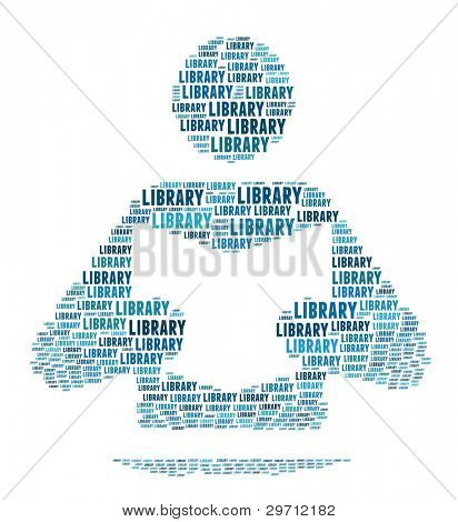 Library Sign in Word Collage
