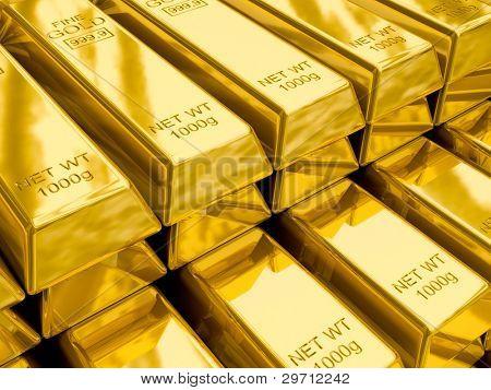 Stapel von Goldbarren hautnah