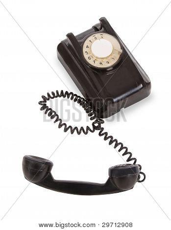 Old black telephobe isolated over white