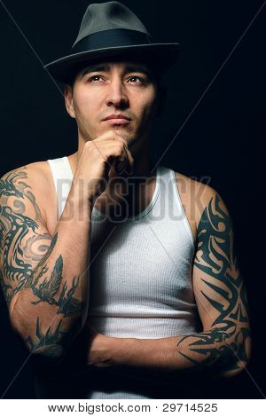 Sexy Man with tattoo, mafia