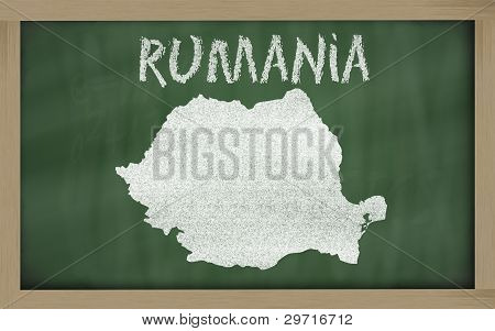Outline Map Of Romania On Blackboard