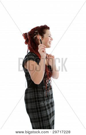 Beautiful Happy Woman With Pen