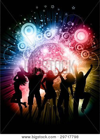 Silhouettes of people dancing on abstract mirror ball background