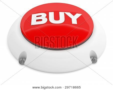 Buy Button. Red 3D Model Isolated On White Background